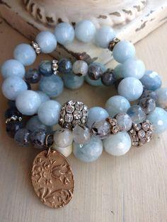 Aquamarine gemstone spring/summer pastel blue semi precious Mothers Day rhinestone glam layering bracelet