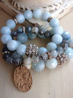 Items similar to Aquamarine gemstone spring/summer pastel blue semi precious rhinestone glam layering bracelet on Etsy
