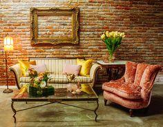 Pink Stripe Sofa & Crushed Velvet Chair