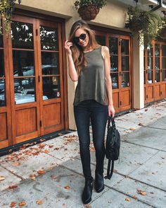 Style Blogger, Nichole Ciotti of Vanilla Extract wearing our Olive Suede Tank, our Black Wash Jeans and our Lily Cutout Boots. Get the look on www.norestforbridget.com! #styleblogger