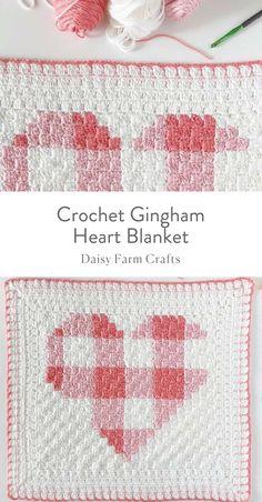 Free Pattern - Crochet Gingham Heart Blanket