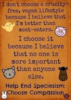 """It's meat eaters and vegetarians who believe that they're better than non human persons, that they're supposedly smarter and stronger and """"at the top of the food chain;"""" that they have the right to impose slavery, abuse, suffering, cruelty and death unto others."""