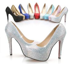 Sparkly high heels Bling wedding shoes Crystal by PhoneCasesWish, $78.00