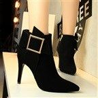 Fashion Sexy Nightclub Suede Pointed Metal Quartet Buckle Ankle Boots