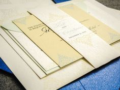 Yellow and Blue Wedding Invitations, Beach Wedding Invitation, Destination Wedding, Delicate Filigree - Flat Panel, No Layers