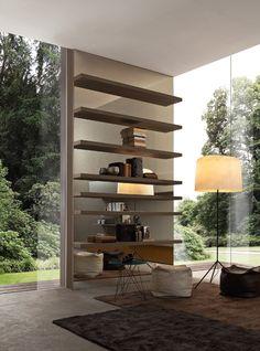 PRESOTTO | The shelves are in beige argilla ecomalta® with bronze mirror panels.__ Le mensole sono in ecomalta® beige argilla con pannelli specchio bronzo.