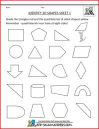 Identify 2D Shapes, basic geometry worksheets 2nd grade