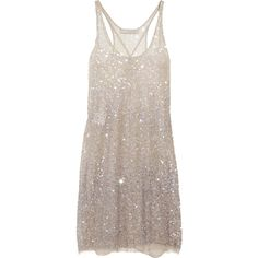 Stella McCartney Sequined tulle tank dress (2.940 BRL) ❤ liked on Polyvore featuring dresses, vestidos, short dresses, tops, short sequin cocktail dresses, mini dress, sequin cocktail dresses, brown dresses and tulle cocktail dress