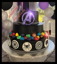 Avengers Infinity Stones Avengers Birthday Cakes, Superhero Birthday Party, 14th Birthday, 6th Birthday Parties, Birthday Ideas, Pastel Avengers, Marvel Cake, Avenger Cake, Superhero Cake