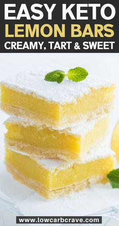 The best low carb keto lemon bars recipe made with almond flour short bread crust. These sugar-free homemade lemon bars are creamy, tangy and delicious! A refreshing keto dessert! Easy Keto Lemon Bars (Low Carb & Sugar-Free) Source by oliviascuisine Desserts Rafraîchissants, Sugar Free Desserts, Sugar Free Recipes, Low Carb Desserts, Holiday Desserts, Healthy Desserts, Simple Keto Desserts, Diabetic Dessert Recipes, Diabetic Desserts Sugar Free Low Carb