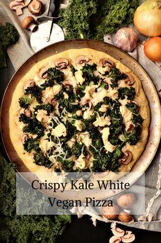 Crispy Kale White Vegan Pizza with Mushrooms - Very Vegan Val Vegan Pizza Recipe, Vegan Dinner Recipes, Vegan Dinners, Cooking Recipes, Vegan Food, Food Network Tv Shows, Food Network Recipes, Top Recipes, Quick Recipes