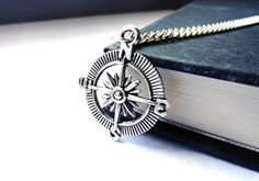 Compass necklace - charm in silver - for men and women - unisex jewelry gift under 25, stocking stuffer, pendant, grey black. $10.00, via Etsy.