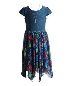 2c03d7e757 Another great find on  zulily! Blue Floral Handkerchief Hem Dress - Girls   zulilyfinds