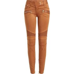 Balmain Biker Pants ($1,100) ❤ liked on Polyvore featuring pants, brown, browns jersey, zipper pants, shiny pants, balmain and biker pants #pantswomen