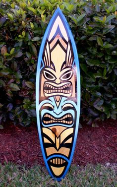 Blue Spoon Tiki Surfboard Wall Art 3 Foot Tropical by decosurf