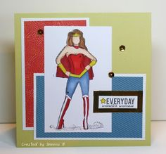 """#handmade #birthday #card featuring #ctmhflorence papers from @CTMH and """"Diana Girl"""" (aka #wonderwoman) stamped image from @unityangela"""