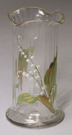 Attributed to Mount Washington, Verona glass vase with lilies of the valley, late 19th century