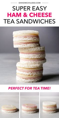 These easy ham & cheese tea sandwiches are so easy to make, no cooking is involved, just prepping and assembling. Double stacked and gone in 2-3 bites, these finger sandwiches are delicious and perfectly sized for tea time and party appetizers. Click for the whole guide! High Tea Sandwiches, Finger Sandwiches, Sandwich Recipes, Snack Recipes, Hot Tea Recipes, Tea Time Snacks, Best Tea, Ham And Cheese, Appetizers For Party
