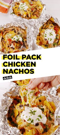 You can make these Foil Pack Chicken Nachos right on the grill. Get the recipe at Delish.com. #recipe #easy #easyrecipe #nachos #chicken #beans #chips #grilling #hack #lifehack #mexican #sourcream #cheddar #cheese
