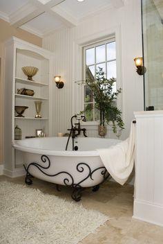 Bathtub, bathroom, white, bead board, ironwork, shelving