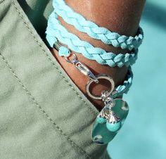 BOHO Wrap Faux Suede Micro Fiber Bracelet - Dangle Charms - Triple Braided TURQUOISE / SILVER Clasp - Pick Size - Wholesale - Ref 457. $15.99, via Etsy.