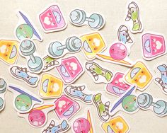 Cute Exercise Planner Stickers: Kawaii Workout by BeagleCakesArt