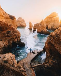 Goldens Cliffs of Portugal ? My favourite place we visited in the Algarve - Ponta da Piedade. If you have the chance I cant recommend it Best Beaches In Portugal, Places In Portugal, Visit Portugal, Beautiful Places To Visit, Cool Places To Visit, Places To Travel, Travel Destinations, Faro Portugal, Spain And Portugal