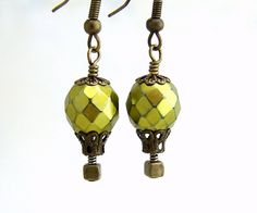 Bright Olive Green Hot Air Balloon Earrings - Faceted Czech glass beads, brass filigree findings - Steampunk jewelry - Steam punk earrings