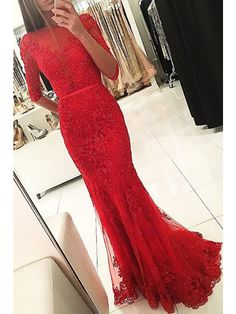 Red Long Sleeve Lace Long Mermaid Prom Dresses Evening Dresses (ED1434) - Long Prom Dresses - PROM DRESSES
