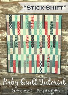 """Today I'm sharing a really fun and simple free tutorial for a baby quilt using Jolly Bars – a bundle of 5″ x 10″ Moda pre-cuts that are exclusive to the Fat Quarter Shop. I'm using The Boat House collection, coming soon from Sweetwater for Moda. This project makes a 40″ x 42″ quilt – perfect for a fun baby or crib quilt. I'm calling this design, """"Stick-Shift."""" Fabric requirements: 30 Jolly Bars (5″ x 10″ rectangles) 30 white charm squares (5″ x 5″) 1 1/4 yard backing. (If you're careful…"""