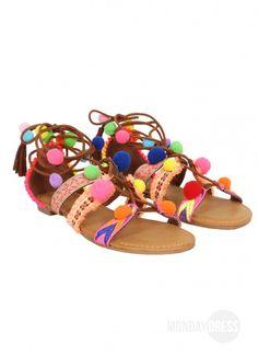 You've Got Spirit Pom Pom Sandals | Monday Dress Boutique