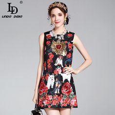 2017 Sexy Summer Dress Women's Straight Sleeveless Noble Sequined Rose Flower Embroidery Animal Dog Floral Printed Vintage Dress