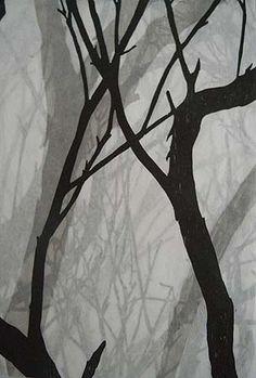 Helen Mueller, 'Requiem Study 3' 2013, woodblock print, overlayed - unique, 38 x 26cm