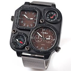 Mens Sports Analog Russia Military Army Multi-time Zones 3 Times Quartz Leather Black Case Dial Wristband Watches Chrysansmile