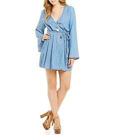 Guess Bell-Sleeve Wrap-Front Denim Dress