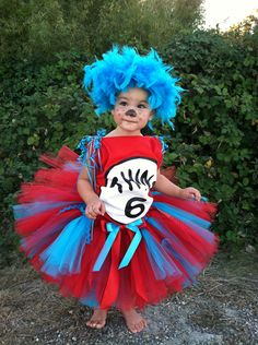 Thing 1 Thing 2 inspired by Dr. Seuss cat In the hat Tutu and headband. $35.00, via Etsy.