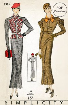 1930s 30s Vintage Sewing Pattern suit dress jacket blouse two styles bust 32 b32 Instant Download