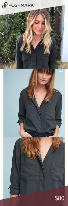 Anthropologie Cloth & Stone Split-Back Buttondown Cloth & Stone Split-Back Buttondown - Work once and still available in white. Size XS but fits like small cloth & stone Tops Button Down Shirts