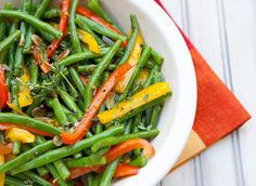 Green Beans With Peppers. 1 Pound Green Beans 1 Sweet Red Pepper 1 Sweet Yellow Pepper 3 Garlic Cloves, Peeled & Finely Sliced 3 Tablespoons Extra Virgin Olive Oil Hot Red Pepper Flakes Cracked Black Pepper 1 Teaspoon Fresh Thyme Sea Salt Zest From 1 Lemon