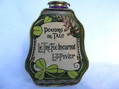 Vintage 1921 Tin Talc Bottle Poudre de Talc Le Tre Fle Incarnat L T Piver | eBay
