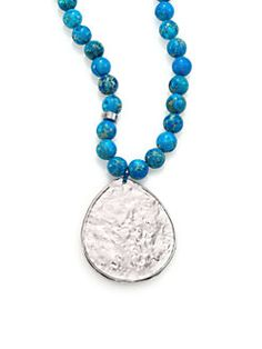 Nest - Turquoise Jasper Beaded Teardrop Pendant Necklace - Available at saksfifthavenue.com