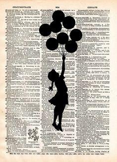 Banksy Girl with Balloons, street art, banksy print, vintage dictionary page book art art print - Arte Callejero 2020 Street Art Banksy, Graffiti Art, Banksy Girl, Arte Banksy, Bansky, Vogel Silhouette, Its A Girl Balloons, Newspaper Art, Plakat Design