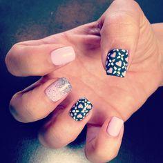 Grey Pink and white shellac nails heart nails nail art nail design by Natalie