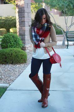 Plaid Blanket Scarf Dark Denim Leggings Ruffle Collar Blouse Tan Cashmere Cardigan Over the Knee Brown Boots Zara J. Moda Outfits, Trendy Outfits, Cute Outfits, Fashion Outfits, Womens Fashion, Ladies Fashion, Fall Winter Outfits, Autumn Winter Fashion, Fall Fashion