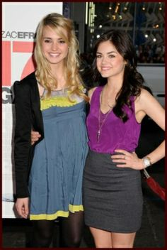 Katelyn Tarver from big time rush and   Lucy Hale from pretty little lairs