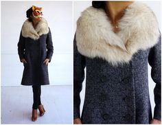 Vintage 1960's Gray Wool Fitted Jacket with Oversized Fox Fur Collar | Small/Medium by AnimalHeadVintage on Etsy