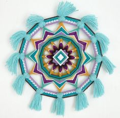 Items similar to Gemstone Melody, an 12 inch, Ojo de Dios mandala, by custom order on Etsy Hobbies And Crafts, Diy And Crafts, Crafts For Kids, Arts And Crafts, God's Eye Craft, Gods Eye, Mexican Art, Gemstone Colors, String Art