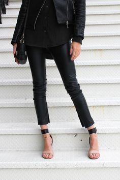 Love these heels (the ankles) & leather pants!!!