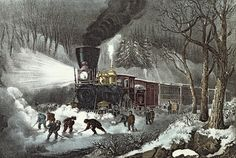 Love this Currier and Ives print.                Snow + Trains = Love