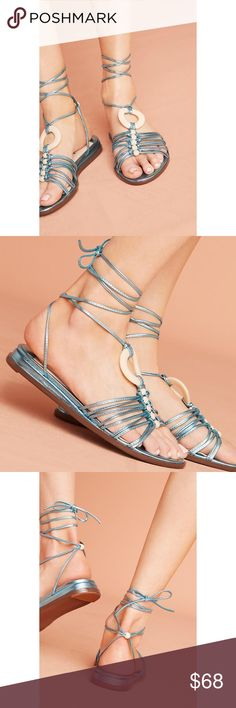 """Anthropologie Farylrobin Biloxi Gladiator Sandals New with tags Anthropologie Farylrobin Biloxi Gladiator Sandals Style No. 42165613 ; Color Code:  Bold, empowering and fun are the three words that best describe Farylrobin. Believing that well-crafted footwear can boost a woman's confidence, designer Faryl Robin Morse blends fresh design with comfort and unexpected color, encouraging wearers to walk proudly wherever they go.  Fits true to size Leather upper, insole, sole Tie closure  1""""…"""
